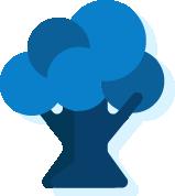 Icono de un árbol azul