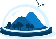 Icono de montañas azules