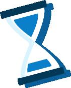 Icono reloj de arena azul