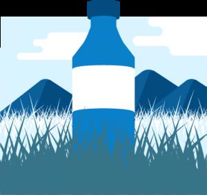 Ilustración de una botella con montañas de fondo