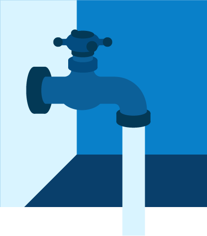 Ilustración de un grifo echando agua