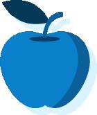 Icono de una manzana azul