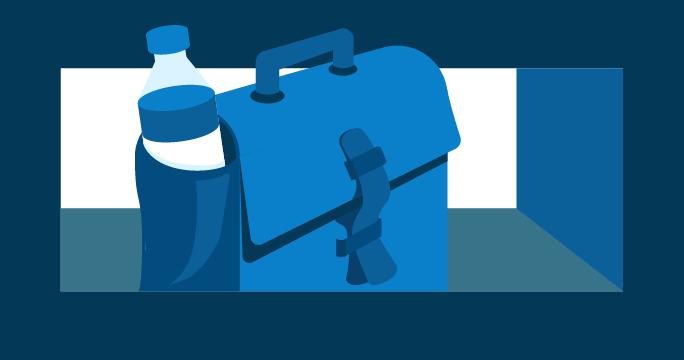 Ilustración de un maletín con una botella