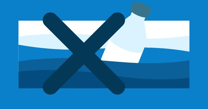 Ilustración de una botella de plástico en el mar