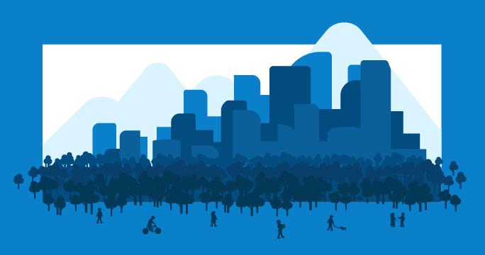 Ilustración de una ciudad con parque y montañas