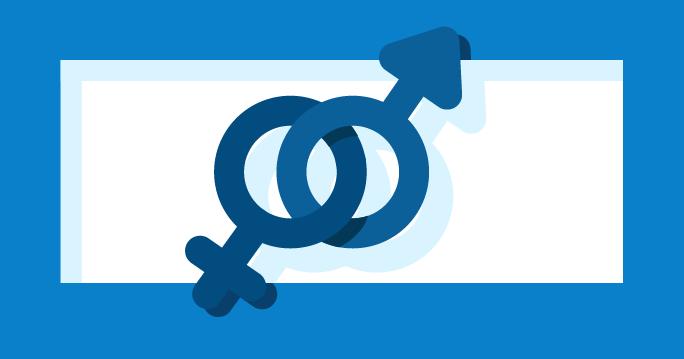 Ilustración con los símbolos masculino y femenino