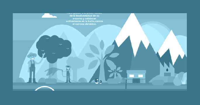 Infografía granjeros regando un árbol en las montañas