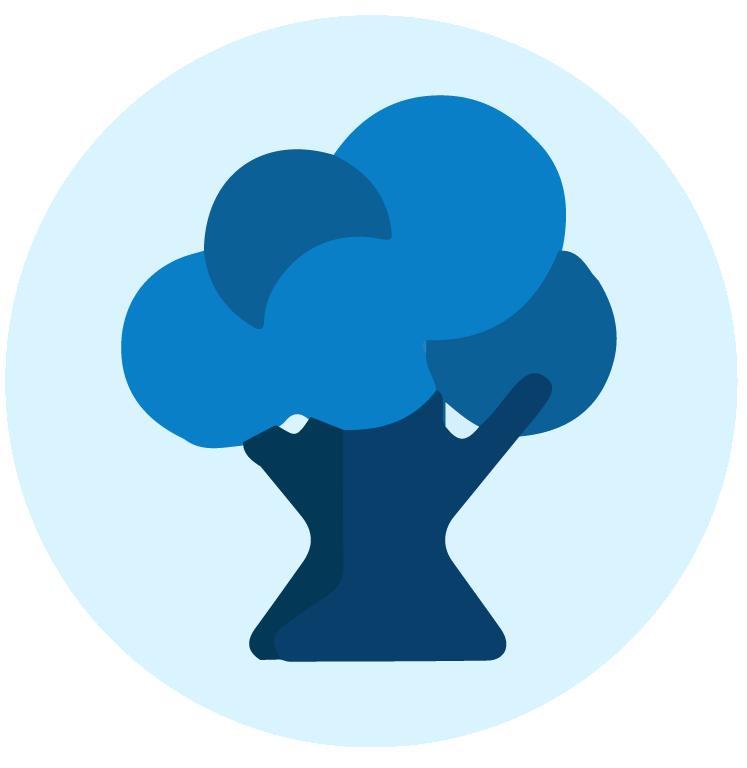 Icono árbol azul